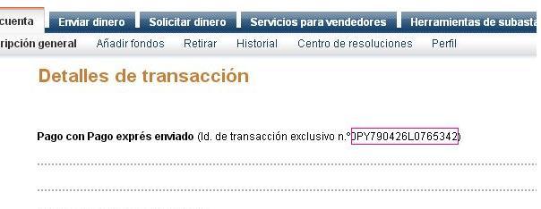 Detalles numero de la transacion paypal