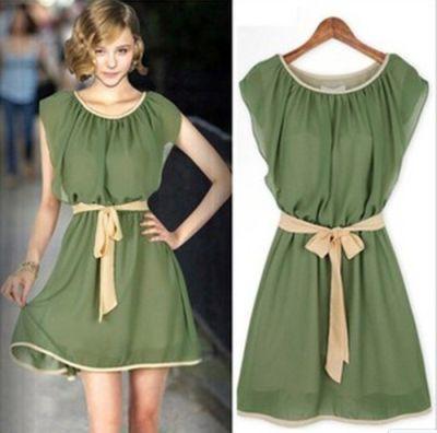 Vestido verde-beige