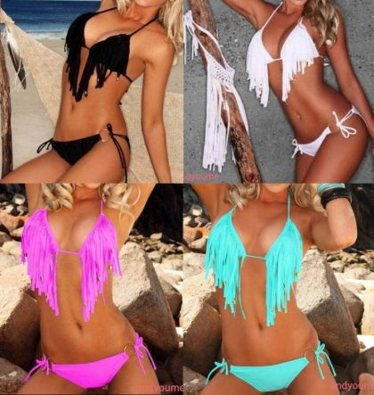 Bikini flecos con tirantes y escote en pico 6.82 € (Gtos. de envío incluidos)
