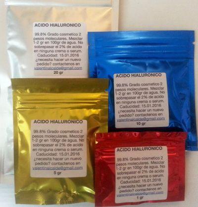 Ácido Hialurónico puro (99.8%) de BAJO Y MEDIO PESO MOLECULAR 5 gramos 15.81 € (Gtos. de envío incluidos)