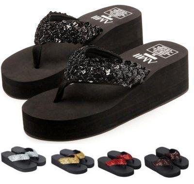 Sandalias lentejuelas plataforma-cuña 3.60 € (Gtos. de envío incluidos)