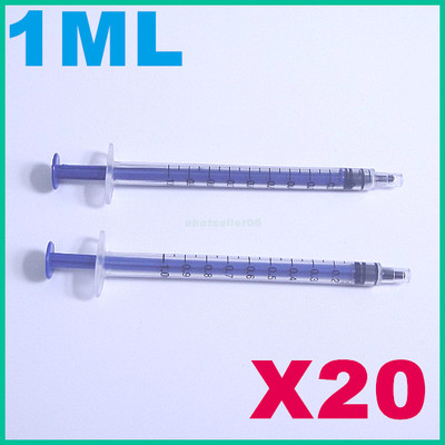 Lote 20 jeringuillas milimetradas de 0.1 a 1 ml. Mediciones cosméticas 1.61 € (Gtos. de envío incluidos) ACTUALIZADO